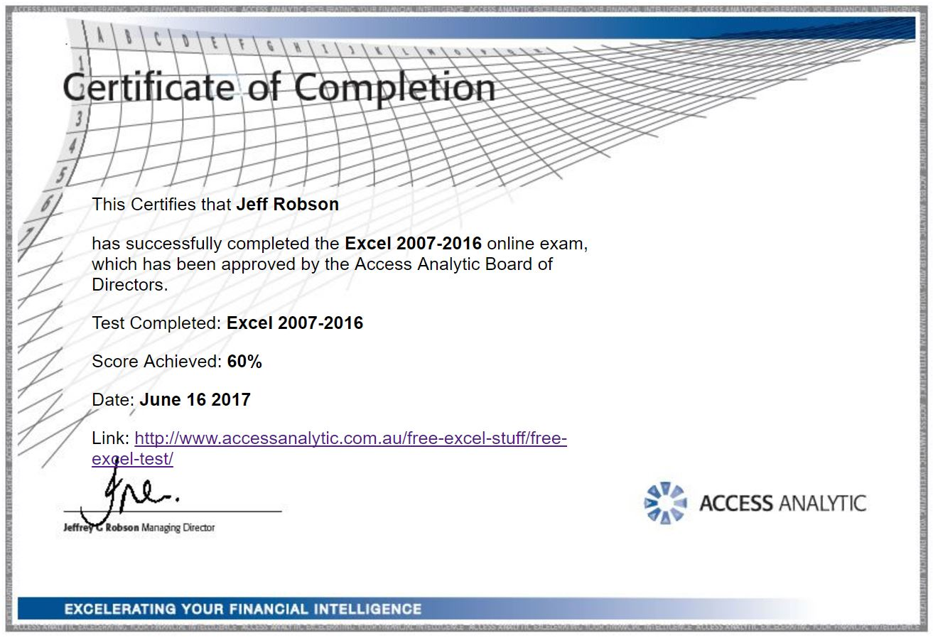 Free Excel Test Access Analytic