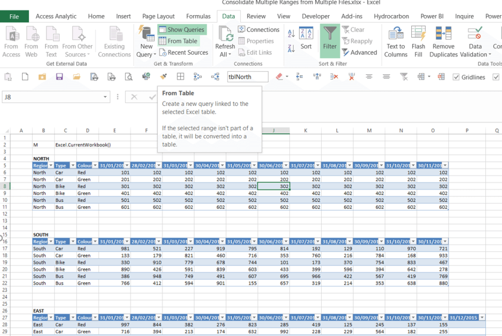 How to combine multiple tables with Excel Power Query