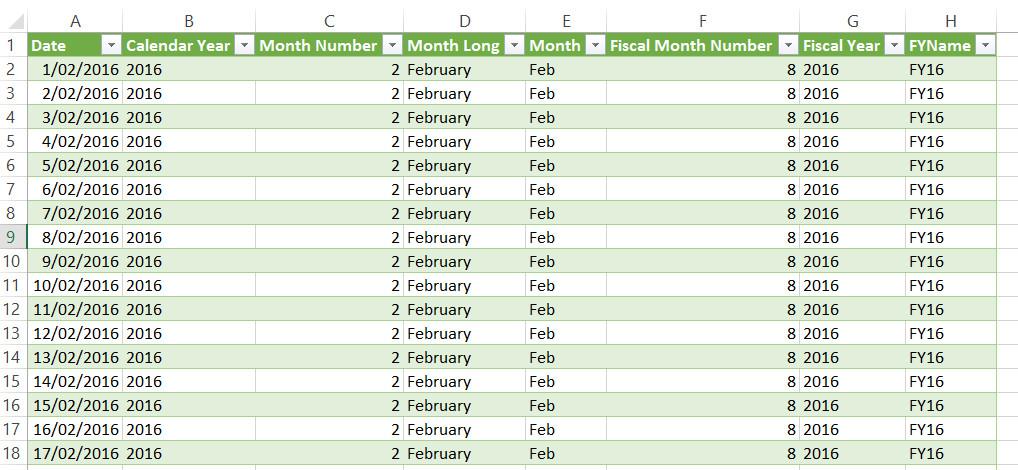 Power Query Excel Calendar