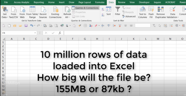 10 million rows of data in Excel